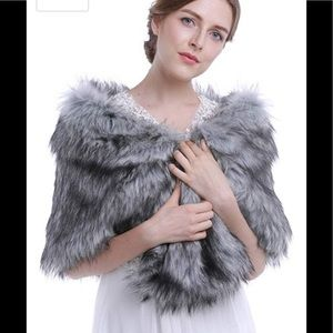 Faux fur shawl/wrap